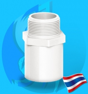 """Thaipipe (Accessories) White PVC Male Straight Joint TS40 38mm (1 1/2"""")"""